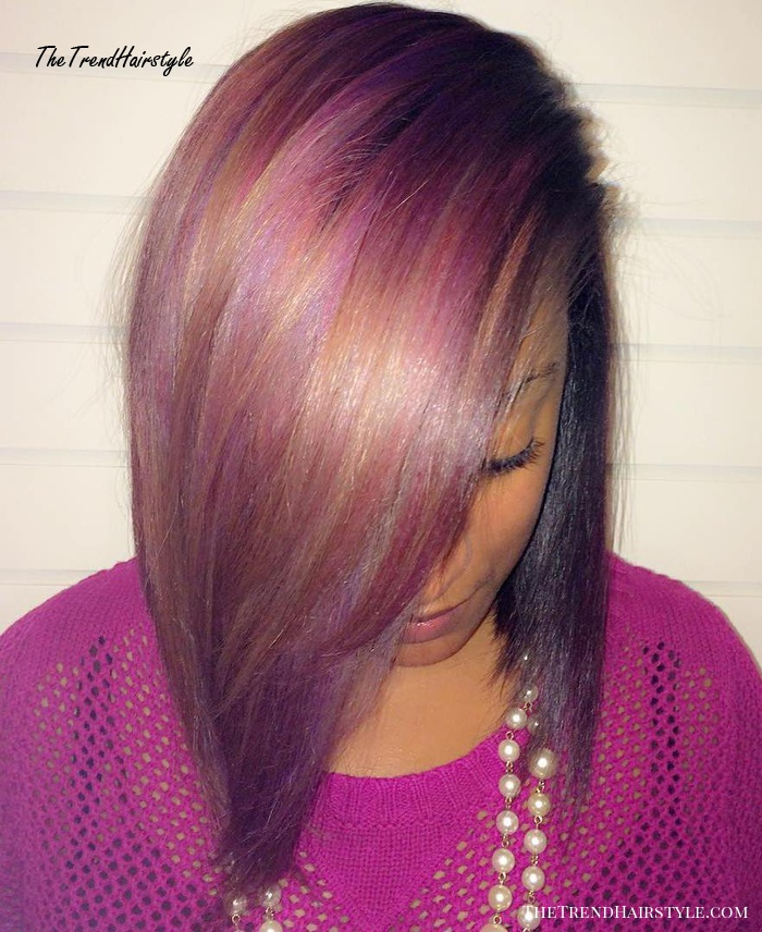 Sew-In Bob With Caramel And Purple Highlights