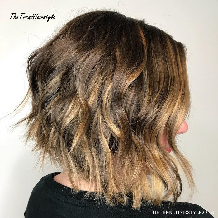 Shaggy Brown Bob With Golden Highlights