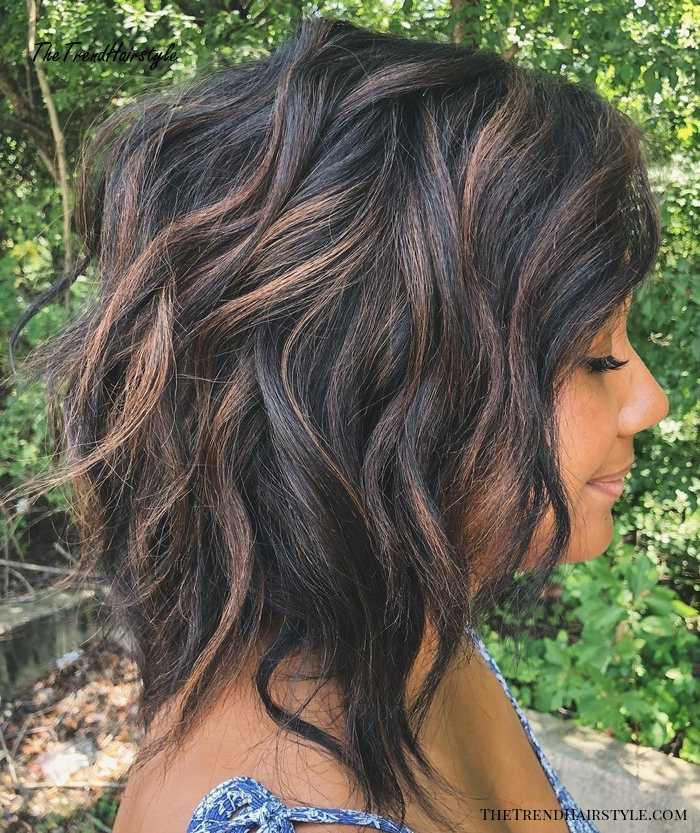 Shaggy Wavy Black Bob With Brown Highlights
