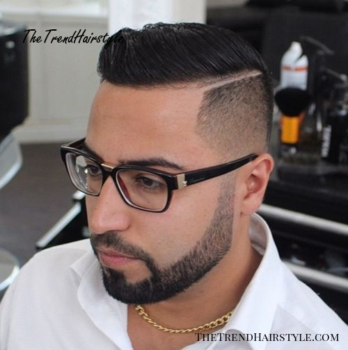 Shaved sides wet look hairstyle for men