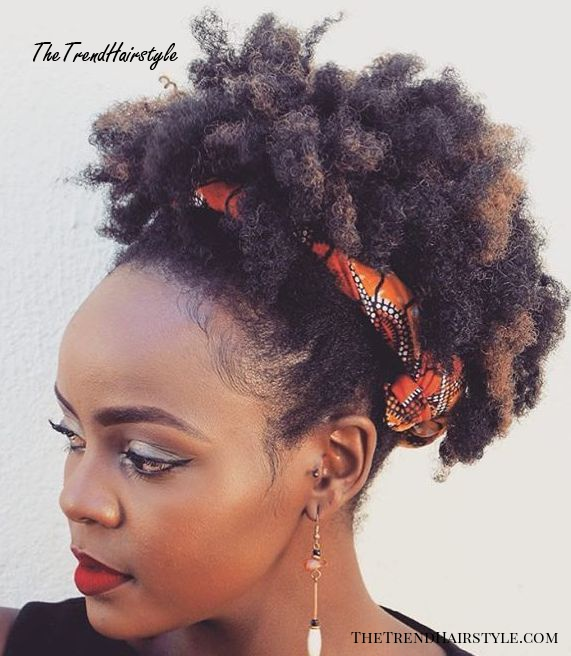 Short Afro With Caramel Highlights