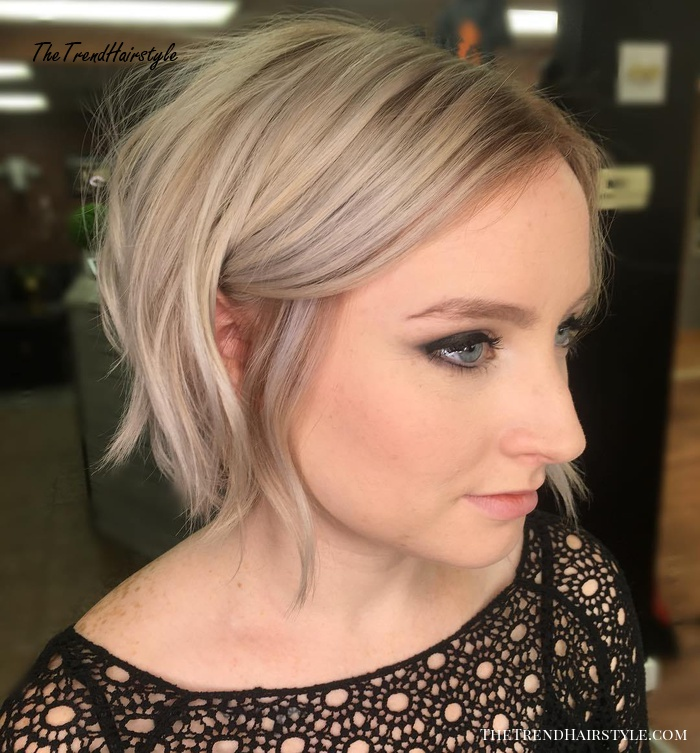 Choppy Ash Blonde Bob - 50 Cute Looks with Short Hairstyles for Round Faces - The Trending ...
