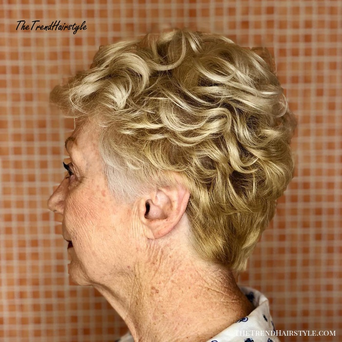 Short Curly Blonde Hairstyle over 70