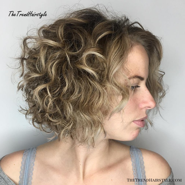 Short Curly Brown Blonde Bob