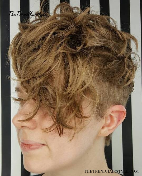 Short Messy Curly Undercut Hairstyle