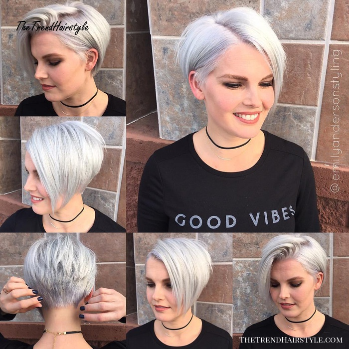 Short Silver Bob With Stacked Layers