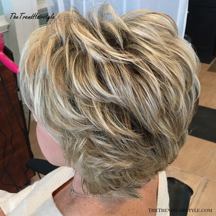 Short To Medium Feathered Hairstyle For Older Women