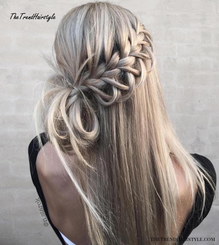 Side Half Up Knot With Waterfall Braid