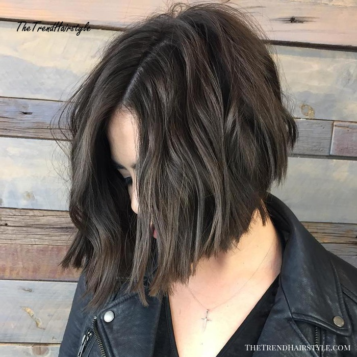Side-Parted Chopped Brunette Bob