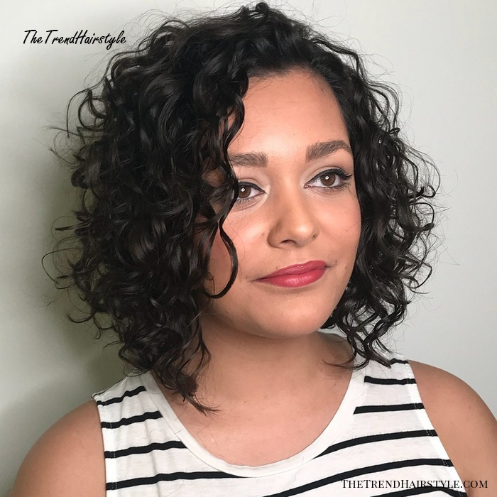 Side-Parted Curly Angled Bob
