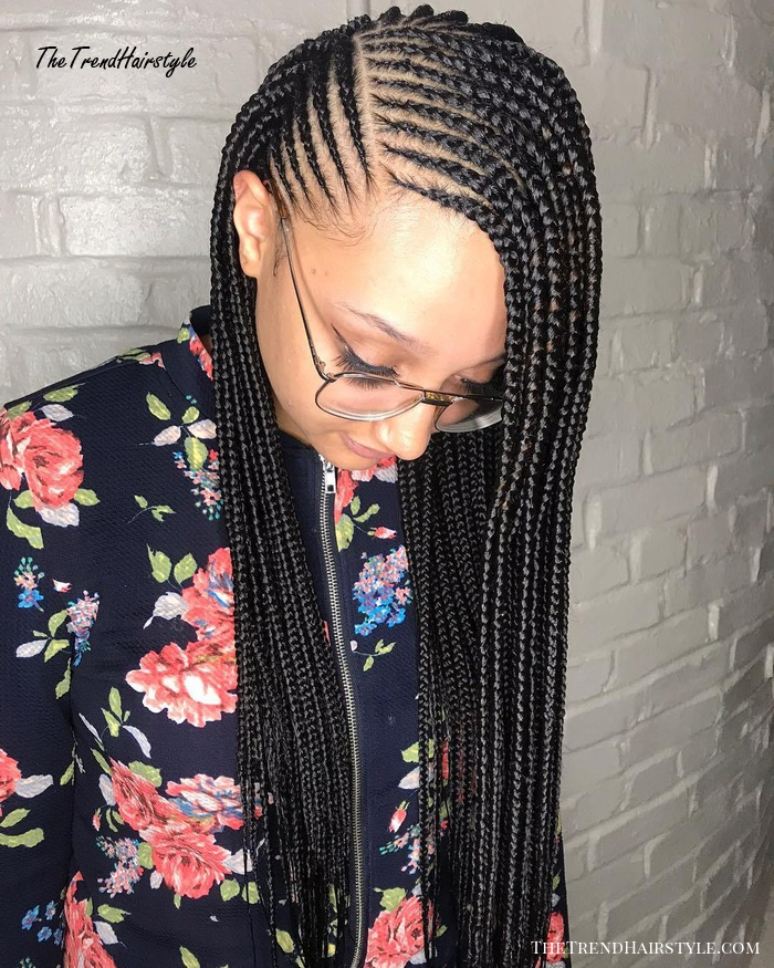 Side-Parted Loose Cornrows