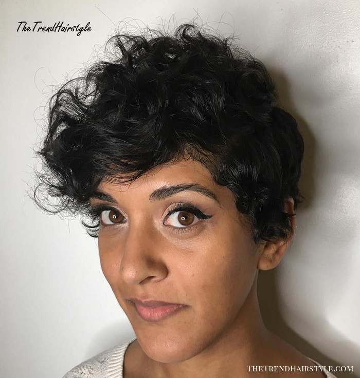 Side-Parted Pixie For Curly Hair
