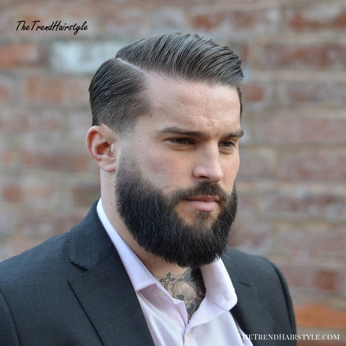 Side-Parted Taper Fade With Beard