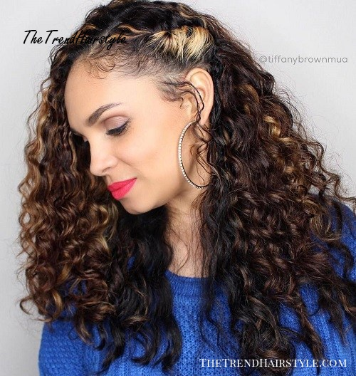 Side Pinned Long Curly Hairstyle