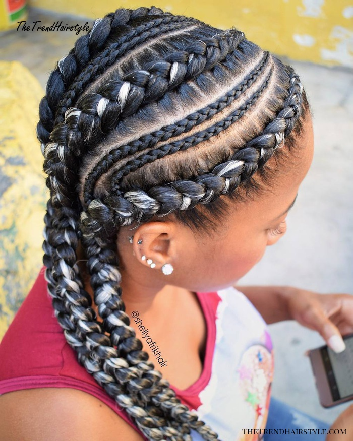 Side Racing Goddess Braids With Blonde Highlights