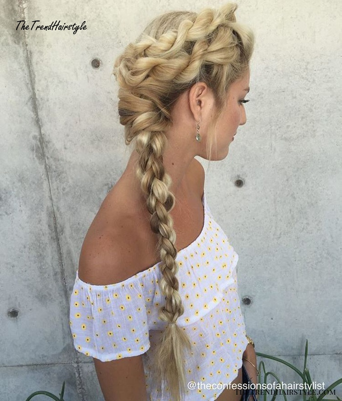 Side Rope Braid For Long Hair
