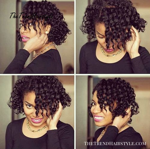Side parted curly hairstyle for black women