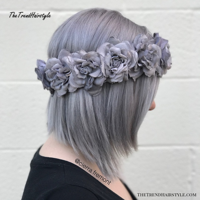 Silver Bob With Gray Flower Crown