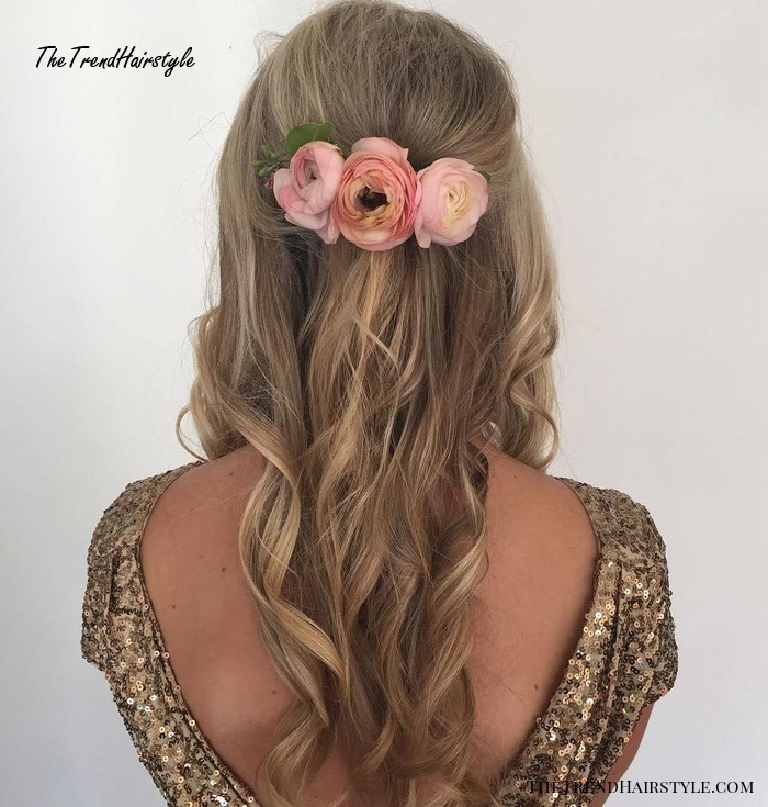 Simple Curly Hairstyle With Hair Flowers