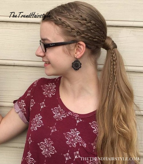 Simple Ponytail With Three Side Braids