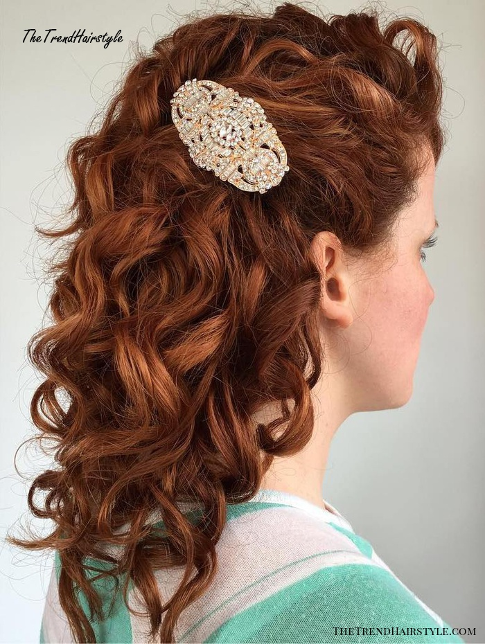 Half-Up Half-Down Curls with Flowers - 20 Soft and Sweet ...