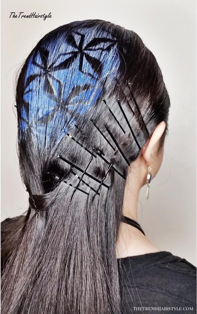 Sleek Brown Hairstyle With Hair Stencils