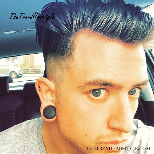 Slicked back men's hairstyle with shaved sides