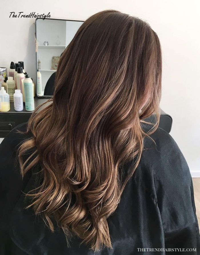 Smudged Hair With Caramel Highlights