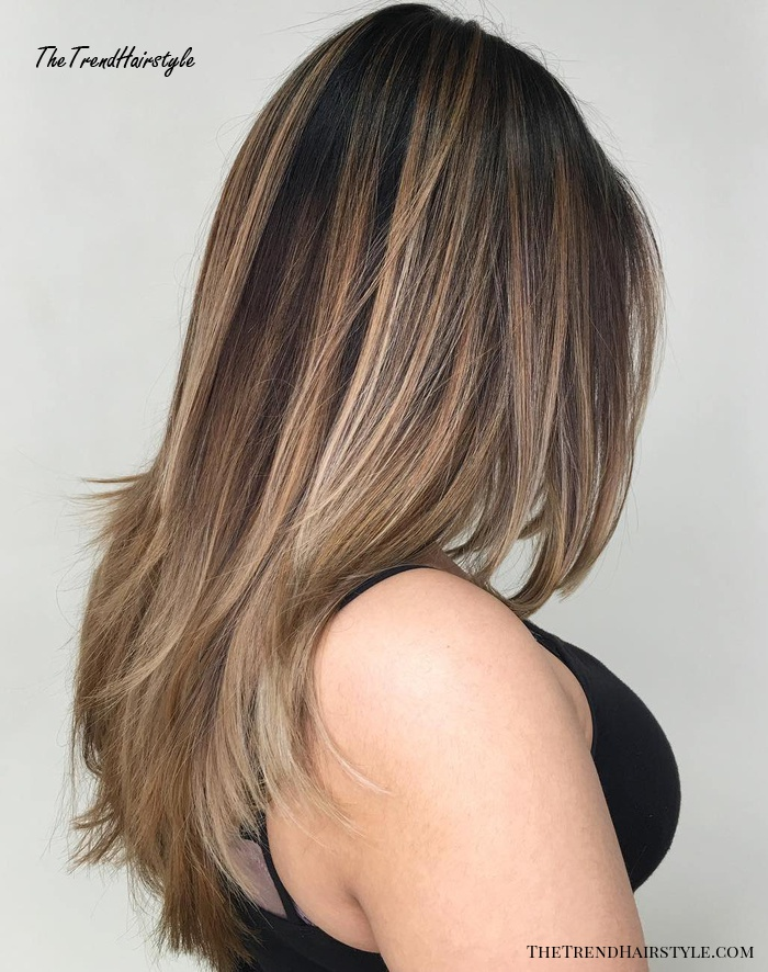 Straight Layered Hair With Cool-Toned Bronde Balayage