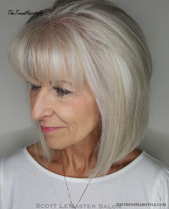 Straight Silver Bob With A Fringe