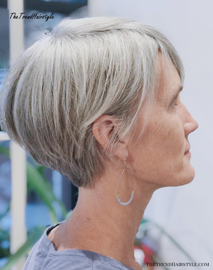 Tapered Ash Blonde Pixie For Straight Hair