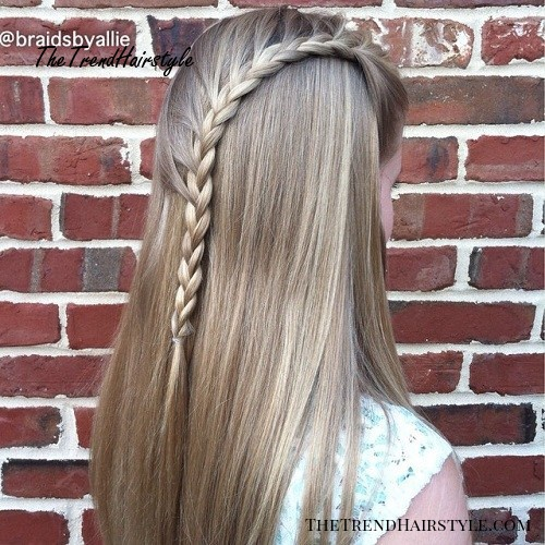 Teen Hairstyle With A Side Waterfall Braid