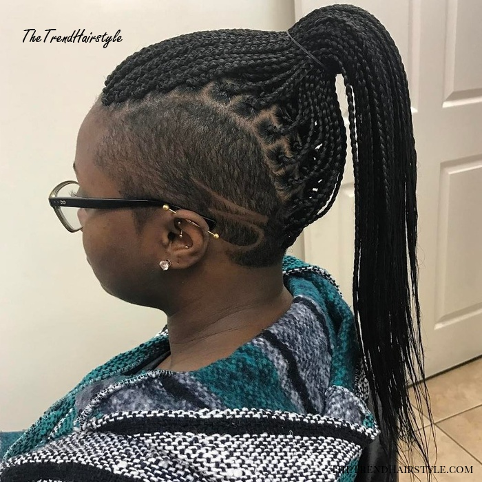 Thin Black Braids with Undercut Sides