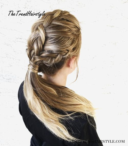 Three Braids Into Low Ponytail Updo