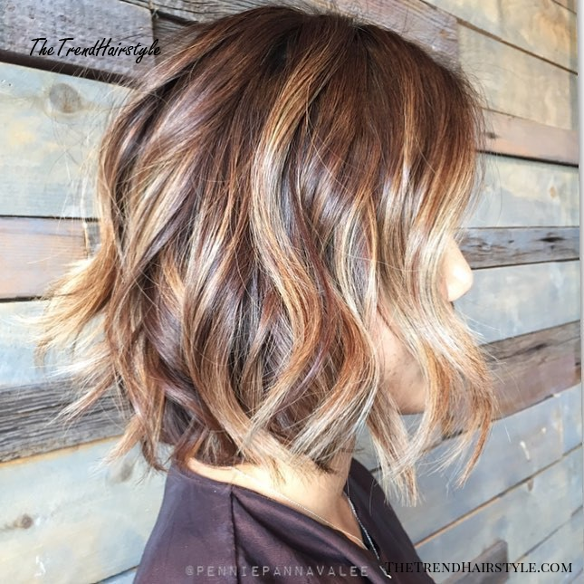 Tousled Brown Bob With Caramel Highlights