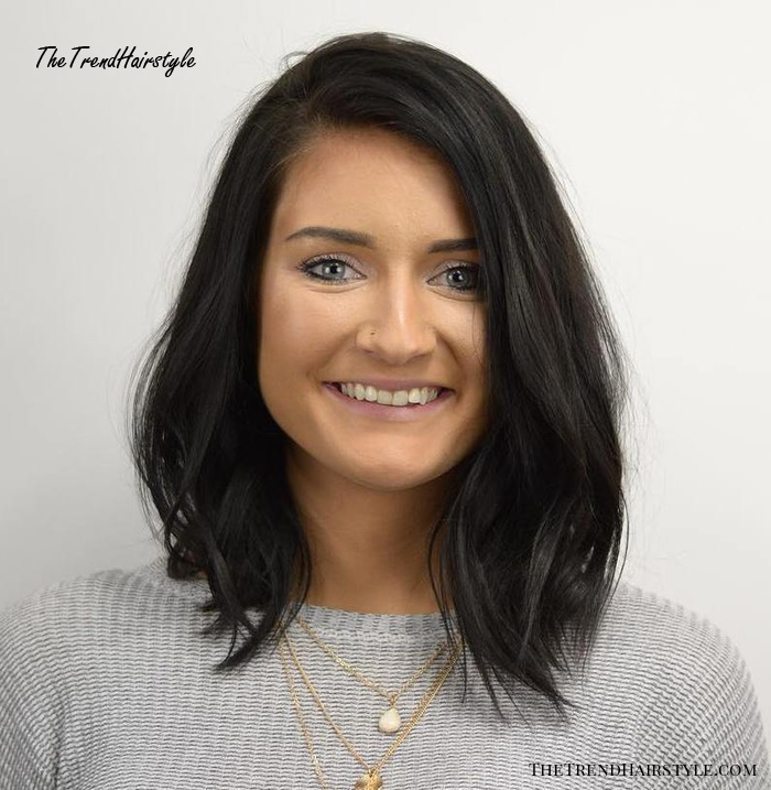 Tousled Lob For Square Faces