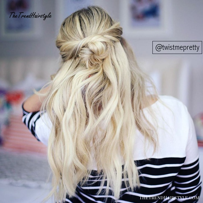 Twisted Half Updo With A Bun