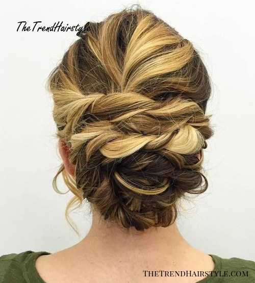 Twisted Updo For Two-Tone Hair