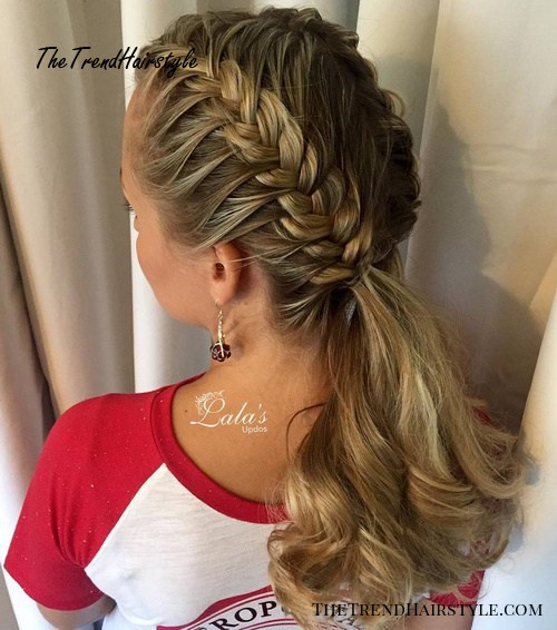 Two Dutch Braids And Low Ponytail