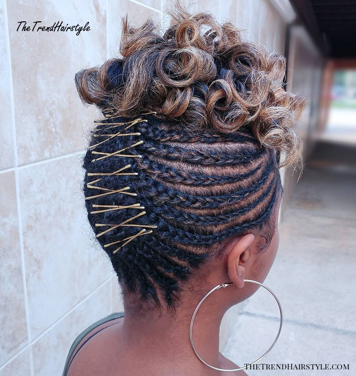 Updo with Cornrows and Curly Top