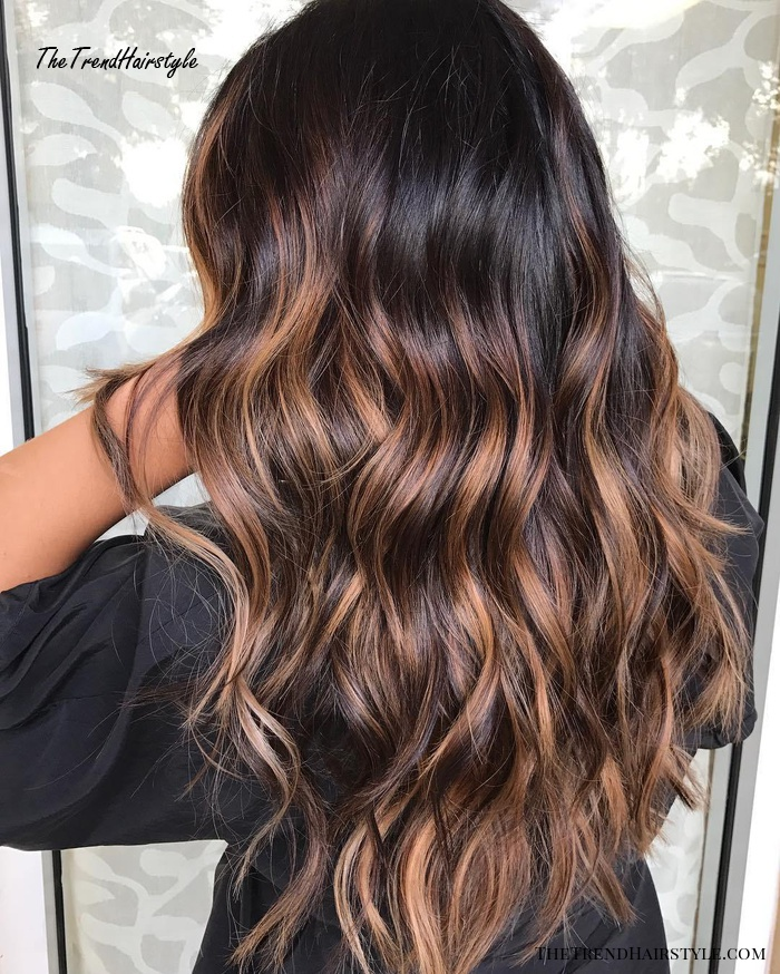 Espresso Base with Hazel Ribbons , 60 Chocolate Brown Hair