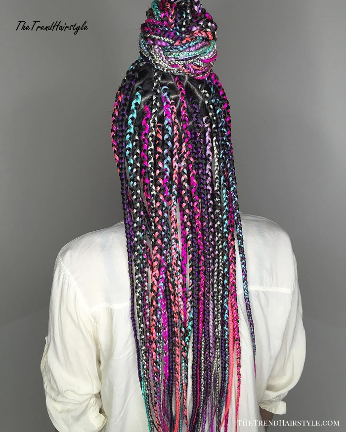 Vibrant Hairstyle With Box Braids