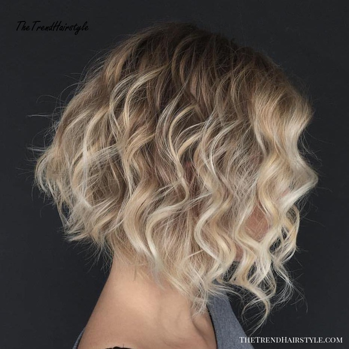 Wavy A-Line Brown Blonde Bob
