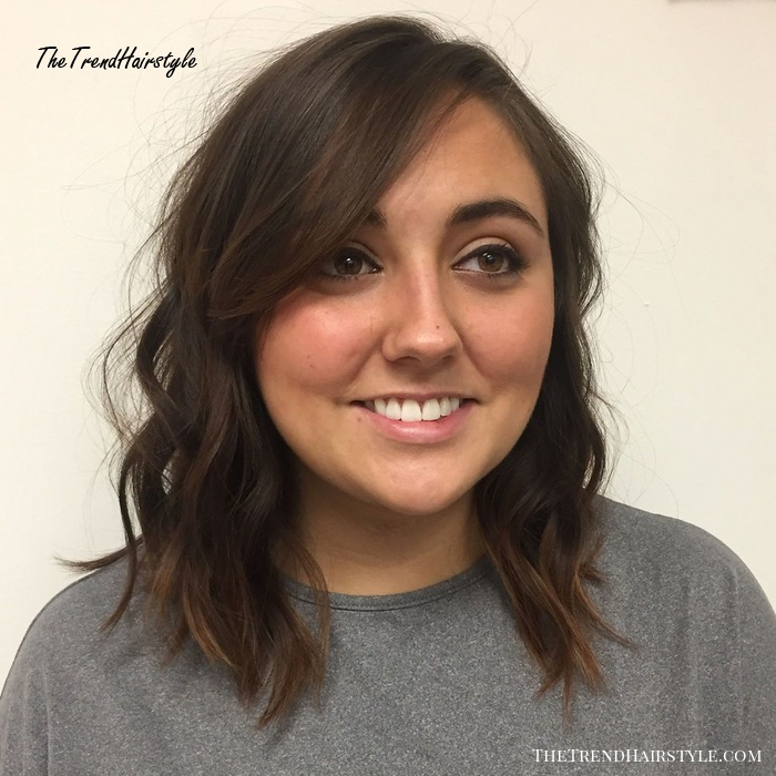 Wavy Lob With Bangs For Round Face Thin Hair