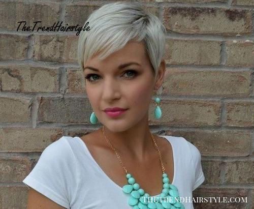 ash blonde pixie with dark roots