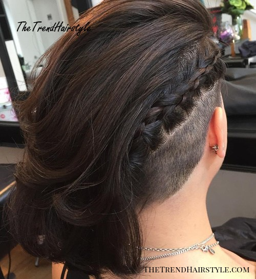 asymmetrical temple to nape undercut with long hair
