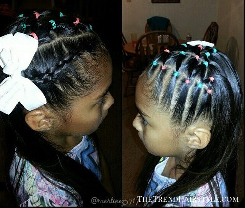 back to school hairstyle with colorful elastics