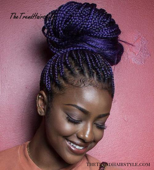 big bun for purple box braids