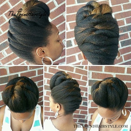 black braided updo hairstyle