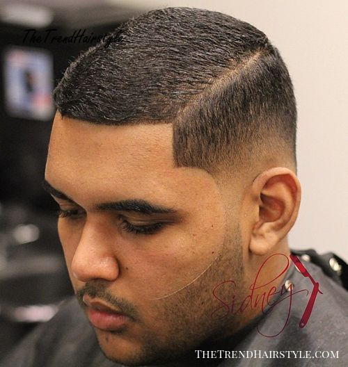 black fade with a side part